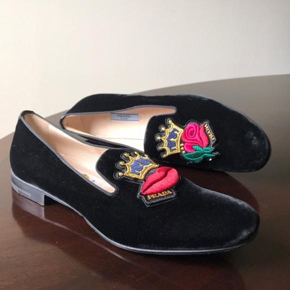 01ca0c9371f Black velvet king lips   flower Prada Penny Loafer